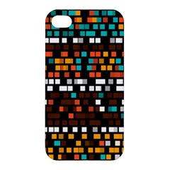 Squares Pattern In Retro Colors Apple Iphone 4/4s Hardshell Case by LalyLauraFLM