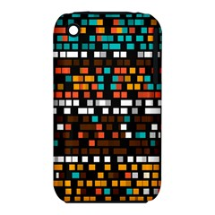 Squares Pattern In Retro Colors Apple Iphone 3g/3gs Hardshell Case (pc+silicone) by LalyLauraFLM
