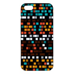 Squares Pattern In Retro Colors Iphone 5s Premium Hardshell Case by LalyLauraFLM