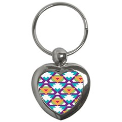 Triangles And Other Shapes Pattern Key Chain (heart) by LalyLauraFLM