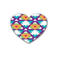 Triangles And Other Shapes Pattern Heart Coaster (4 Pack) by LalyLauraFLM