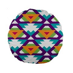 Triangles And Other Shapes Pattern Standard 15  Premium Round Cushion  by LalyLauraFLM