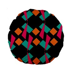 Shapes In Retro Colors  Standard 15  Premium Round Cushion  by LalyLauraFLM