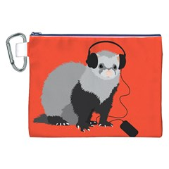 Funny Music Lover Ferret Canvas Cosmetic Bag (xxl)  by CreaturesStore