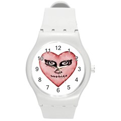 Angry Devil Heart Drawing Print Round Plastic Sport Watch (m) by dflcprints