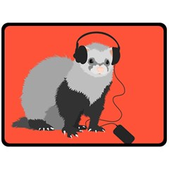 Funny Music Lover Ferret Fleece Blanket (large)  by CreaturesStore