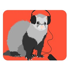 Funny Music Lover Ferret Double Sided Flano Blanket (large)  by CreaturesStore