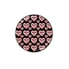 Angry Devil Hearts Seamless Pattern Hat Clip Ball Marker by dflcprints