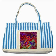 Happy 3 Red Striped Blue Tote Bag