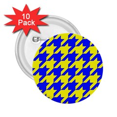 Houndstooth 2 Blue 2 25  Buttons (10 Pack)  by MoreColorsinLife