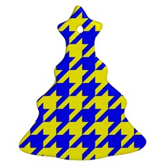 Houndstooth 2 Blue Christmas Tree Ornament (2 Sides) by MoreColorsinLife