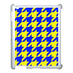 Houndstooth 2 Blue Apple Ipad 3/4 Case (white) by MoreColorsinLife