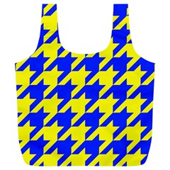 Houndstooth 2 Blue Full Print Recycle Bags (l)  by MoreColorsinLife