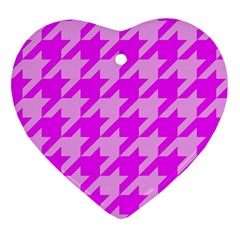 Houndstooth 2 Pink Heart Ornament (2 Sides) by MoreColorsinLife
