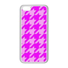 Houndstooth 2 Pink Apple Iphone 5c Seamless Case (white) by MoreColorsinLife