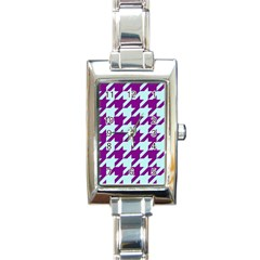 Houndstooth 2 Purple Rectangle Italian Charm Watches by MoreColorsinLife