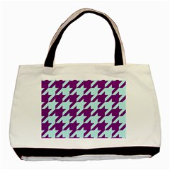 Houndstooth 2 Purple Basic Tote Bag (two Sides)  by MoreColorsinLife