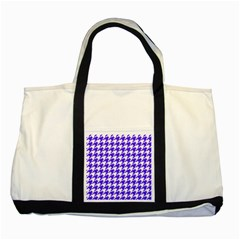 Houndstooth Blue Two Tone Tote Bag  by MoreColorsinLife