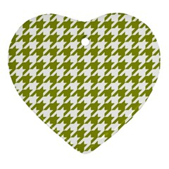Houndstooth Green Heart Ornament (2 Sides) by MoreColorsinLife