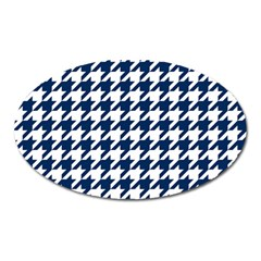 Houndstooth Midnight Oval Magnet by MoreColorsinLife