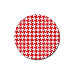 Houndstooth Red Rubber Coaster (round)  by MoreColorsinLife