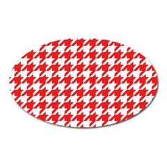Houndstooth Red Oval Magnet by MoreColorsinLife
