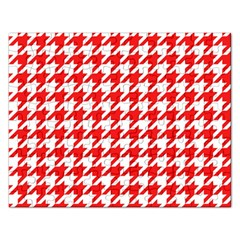 Houndstooth Red Rectangular Jigsaw Puzzl by MoreColorsinLife