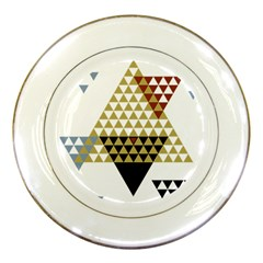 Colorful Modern Geometric Triangles Pattern Porcelain Plates by Dushan