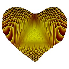 Swirling Dreams Yellow Large 19  Premium Flano Heart Shape Cushions by MoreColorsinLife