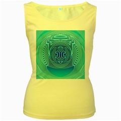 Swirling Dreams, Aqua Women s Yellow Tank Tops by MoreColorsinLife