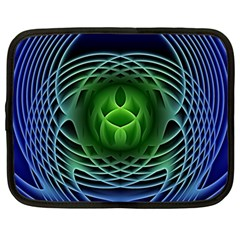 Swirling Dreams, Blue Green Netbook Case (large) by MoreColorsinLife