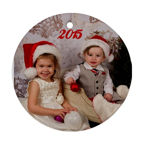 Xmas 2015 Karen By Sigrid   Ornament (round)   Bbsndds5nqx1   Www Artscow Com Front