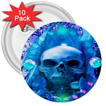 Skull Worship 3  Buttons (10 pack)