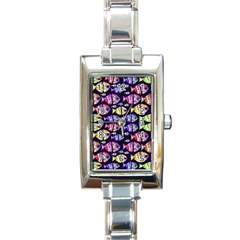 Colorful Fishes Pattern Design Rectangle Italian Charm Watches by dflcprints