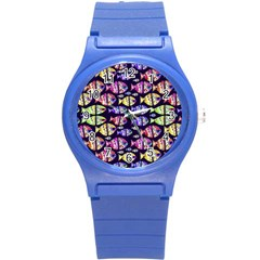 Colorful Fishes Pattern Design Round Plastic Sport Watch (s) by dflcprints