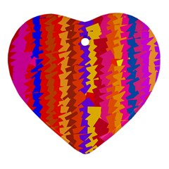 Colorful Pieces Heart Ornament (two Sides) by LalyLauraFLM
