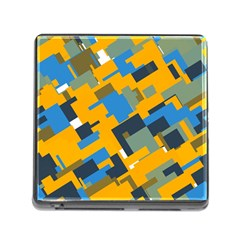 Blue Yellow Shapes Memory Card Reader (square) by LalyLauraFLM