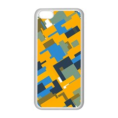Blue Yellow Shapes Apple Iphone 5c Seamless Case (white) by LalyLauraFLM