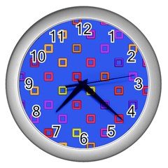 3d Squares On A Blue Background Wall Clock (silver) by LalyLauraFLM