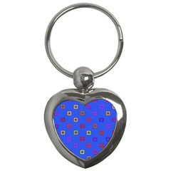 3d Squares On A Blue Background Key Chain (heart) by LalyLauraFLM