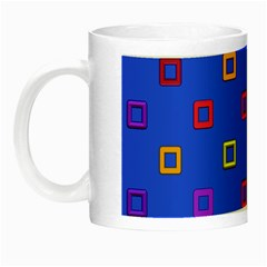 3d Squares On A Blue Background Night Luminous Mug by LalyLauraFLM