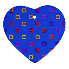 3d Squares On A Blue Background Heart Ornament (two Sides) by LalyLauraFLM
