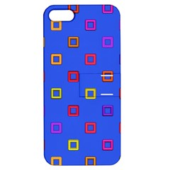 3d Squares On A Blue Background Apple Iphone 5 Hardshell Case With Stand by LalyLauraFLM
