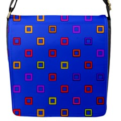 3d squares on a blue background Flap Closure Messenger Bag (S) by LalyLauraFLM
