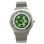 Leather-Look Irish Clover Ball Stainless Steel Watch