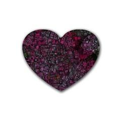 Fantasy City Maps 1 Rubber Coaster (heart)  by MoreColorsinLife