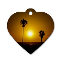 Sunset Scene At The Coast Of Montevideo Uruguay Dog Tag Heart (one Side) by dflcprints