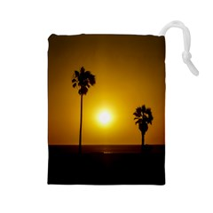 Sunset Scene At The Coast Of Montevideo Uruguay Drawstring Pouches (large)  by dflcprints