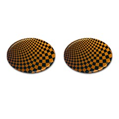 Abstract Square Checkers  Cufflinks (oval) by OZMedia