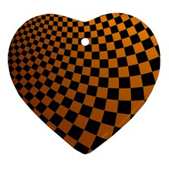 Abstract Square Checkers  Heart Ornament (2 Sides) by OZMedia